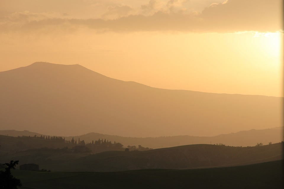 Sunset, Tuscany, Italy, Sky, Horizon, Dusk, Countryside