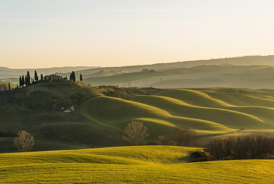 Tuscany, Sun, Hills, Green, Landscape, Sunset, Trees