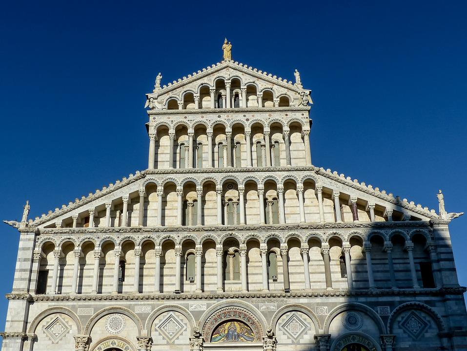 Pisa, Duomo, Dome, Facade, Building, Tuscany, Religion