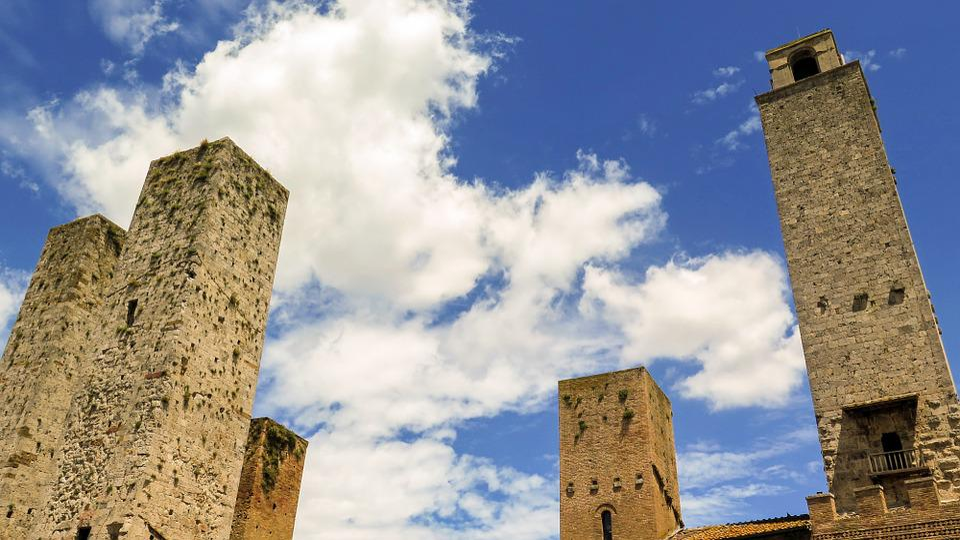 San Gimignano, Italy, Tuscany, Towers, Sky, Clouds