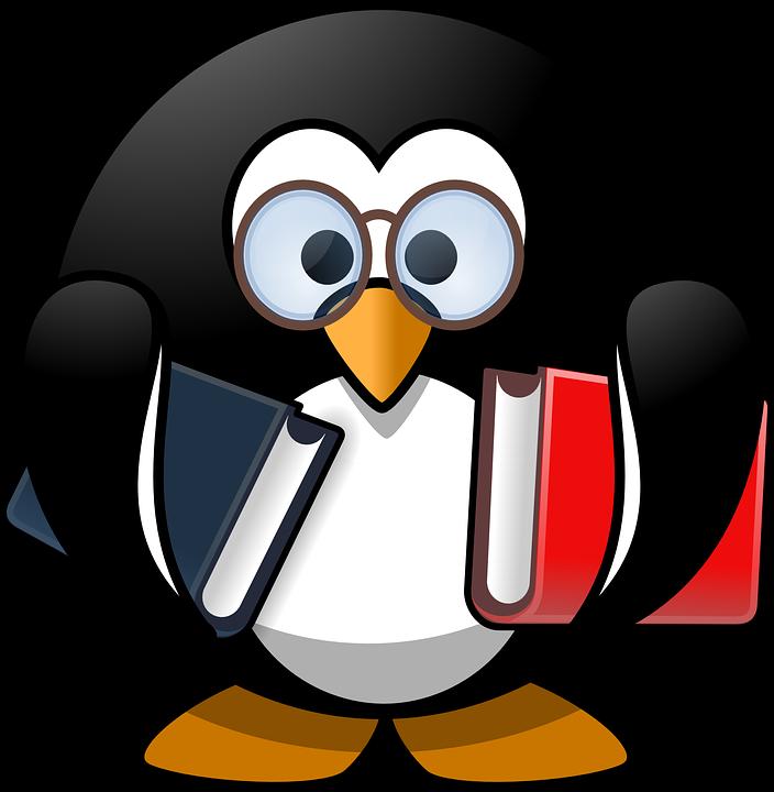 Tux, Animal, Bird, Book, Books, Bookworm, Education