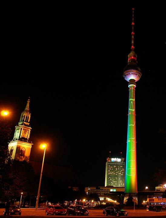 Tv Tower, Berlin, City, Night, Lightshow