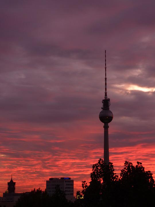 Berlin, Tv Tower, Sunset, City, Germany
