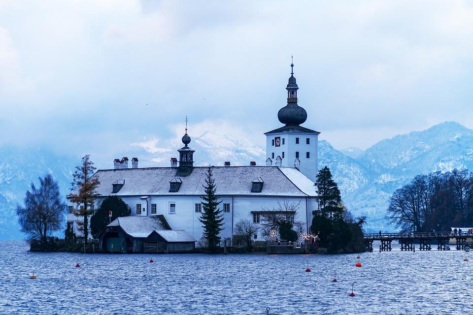 Castle, Lake, Winter, Clouds, Architecture, Twilight
