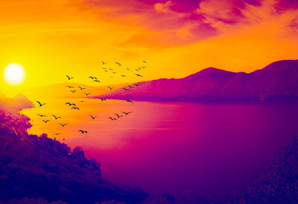 Birds, Sea, Mountains, Sunset, Dusk, Twilight, Clouds