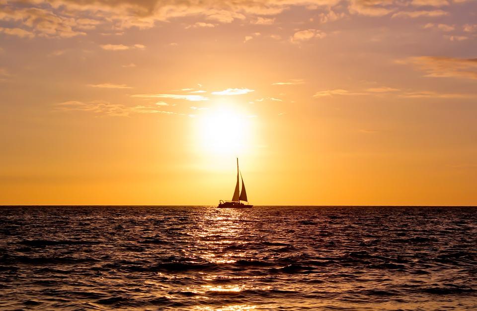 Twilight, Sun, Ocean, Boat, Water, Sunset, Landscape