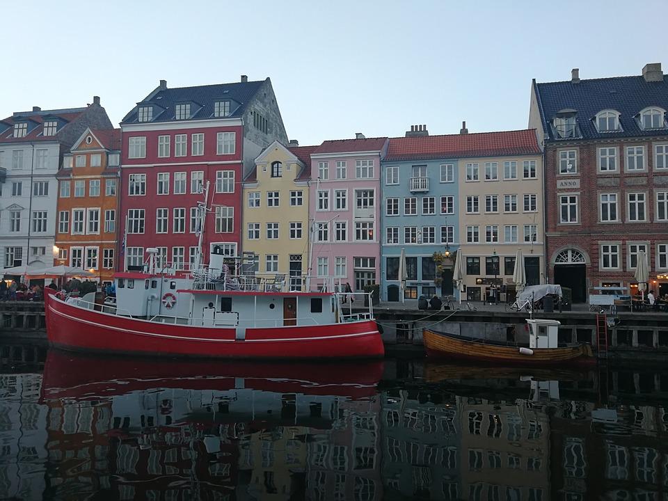 Nyhavn, Denmark, Twilight, Houses, Channel, Mirroring