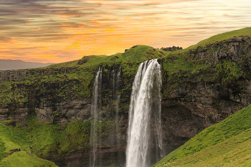 Waterfall, Mountains, River, Nature, Twilight, Iceland
