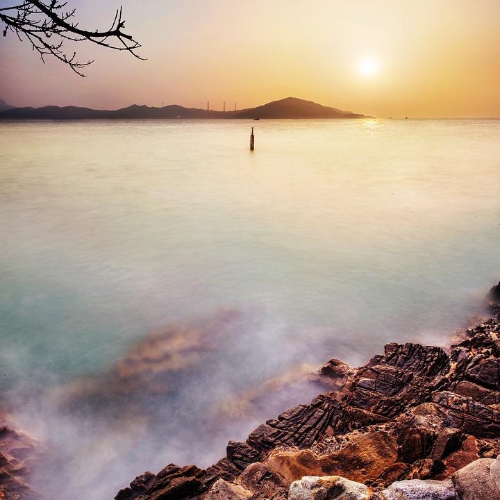 Sunset, Sea, Mist, Sky, Nature, Twilight, Landscape
