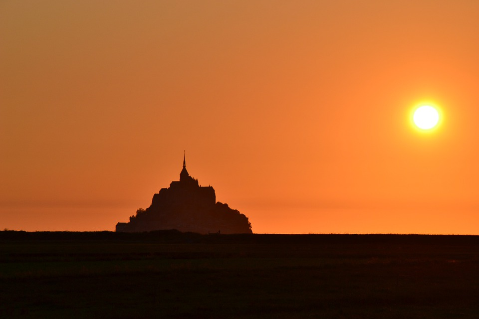 Mont-st-michel, Sunset, Normandy, France, Twilight