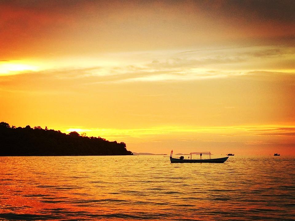 Sunset, Phnom Penh, Boat, Twilight