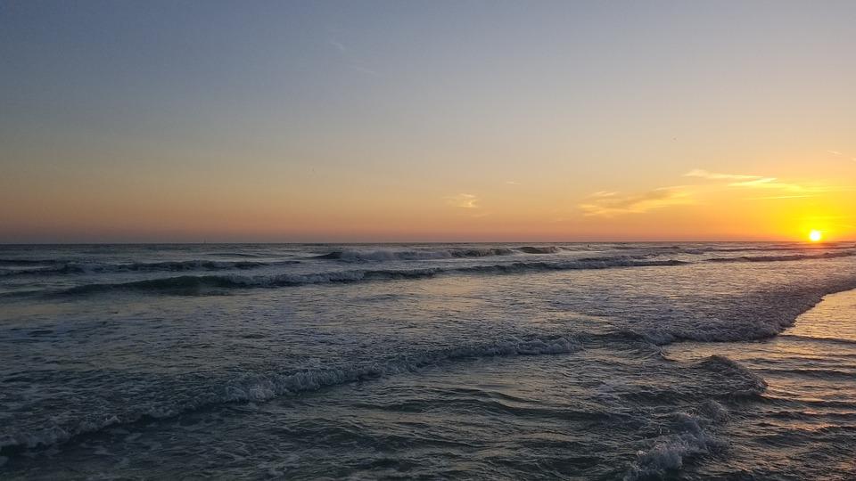 Sea, Beach, Sunset, Dusk, Twilight, Horizon, Waves