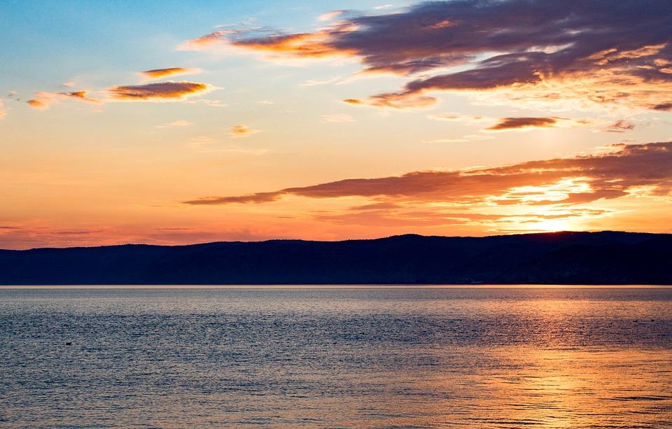 Sunset, Baikal Lake, Siberia, Twilight, Landscape, Sky