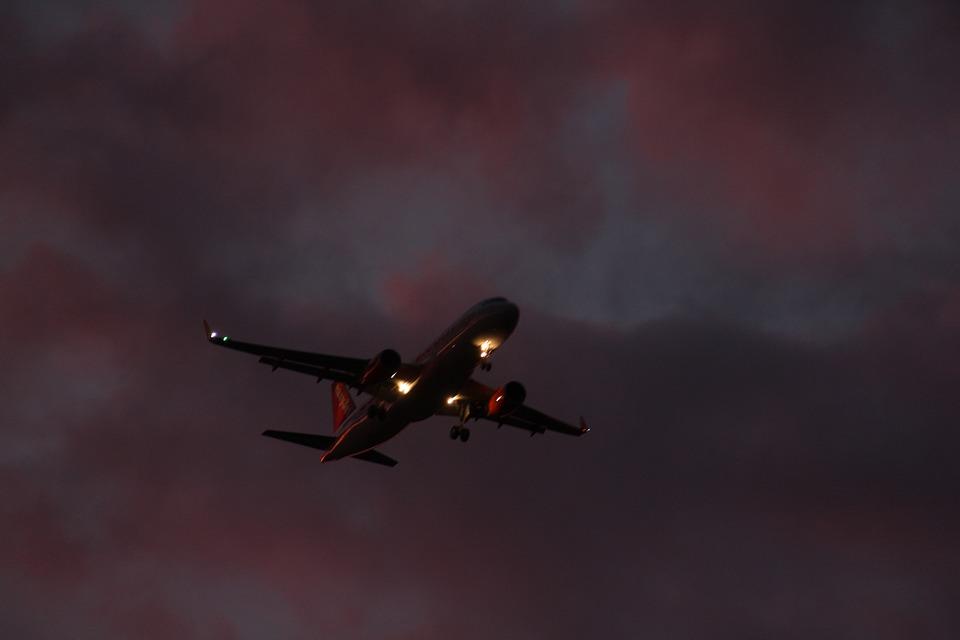 Sky, Plane, Plane In The Sky, Sunset, Twilight
