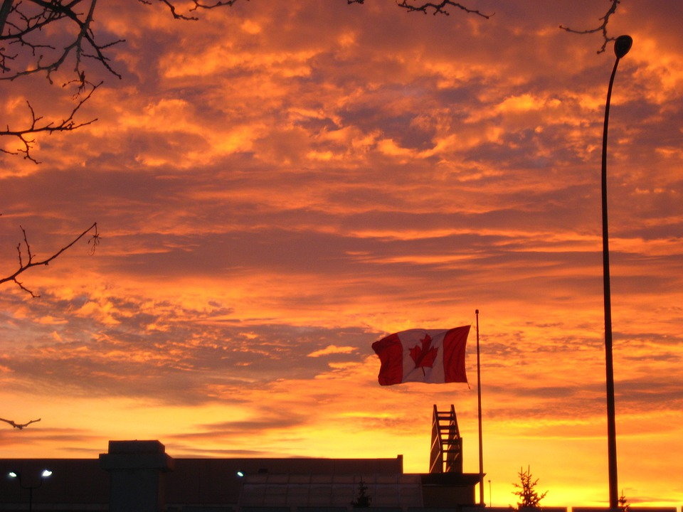 Canada, Flag, Sunset, Sky, Landscapes, Twilight, Cloud