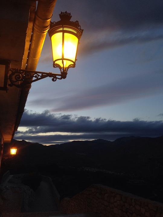 Lamp, Light, Sunset, Landscape, Twilight