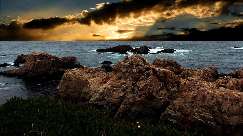 Sunset, Oceans, Sea, Water, Sky, Twilight, Nature