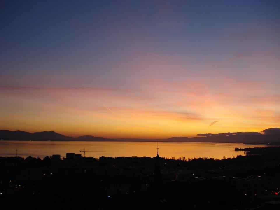 Sunset, Sun, Twilight, Lake Geneva, Lausanne
