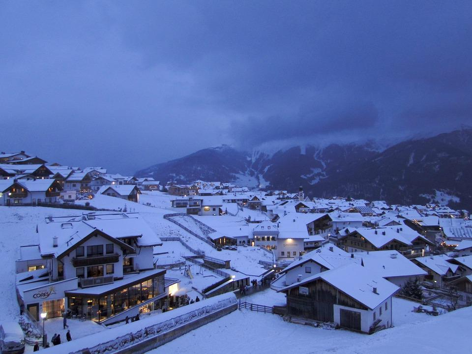 Dusk, Twilight, Snow Landscape, Wintry, Village