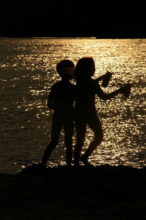 Beach, Silhouette, Two, Children, Evening Sun, Play