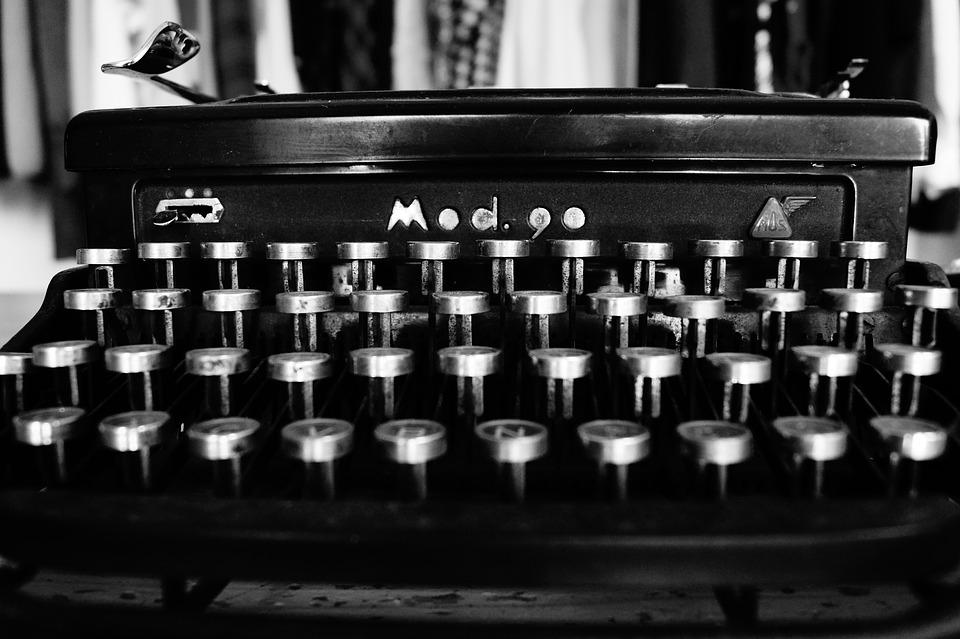Typewriter, Typing, Black And White, Keys, Mechanics