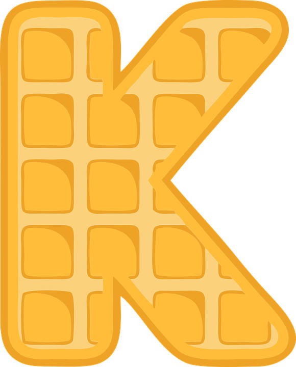 Nice K, Alphabet, Waffle, Letter, Typography, Text, Font