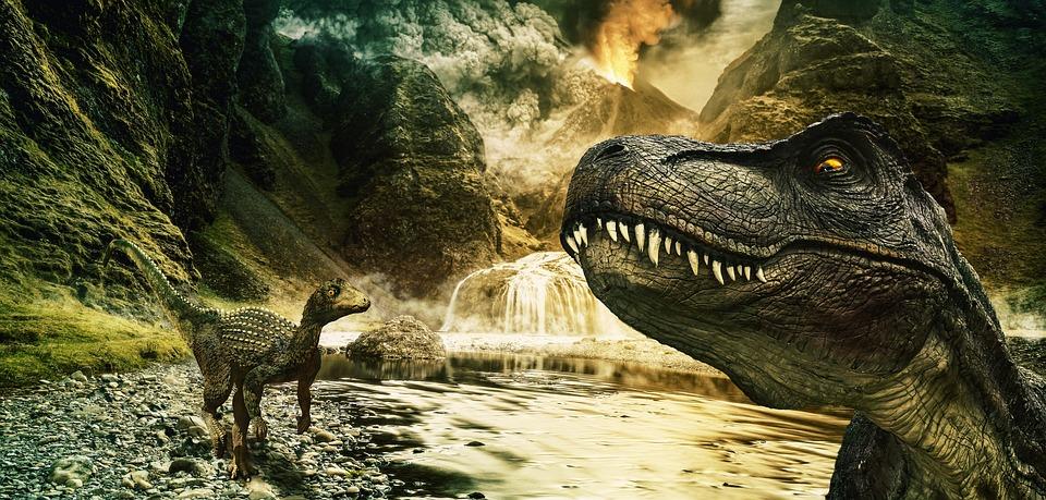 Dinosaur, T Rex, Raptor, Tyrannosaurus, Volcano