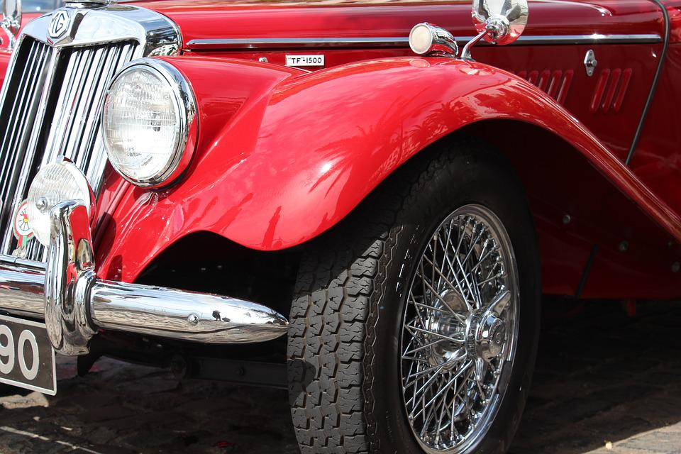 Free photo Tyres Red Vintage Spokes Shiny Wheels Car - Max Pixel