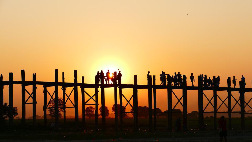 U Leg Bridge, Teak Bridge, Old, Sunset, Human