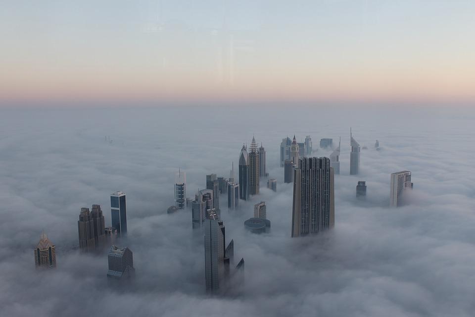 Cityscape, Fog, Dubai, Sunrise, Burj, Uae