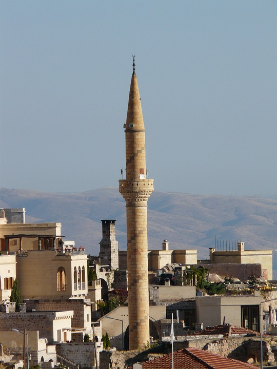 Uchisar, Minaret, Mosque, City, Apartments