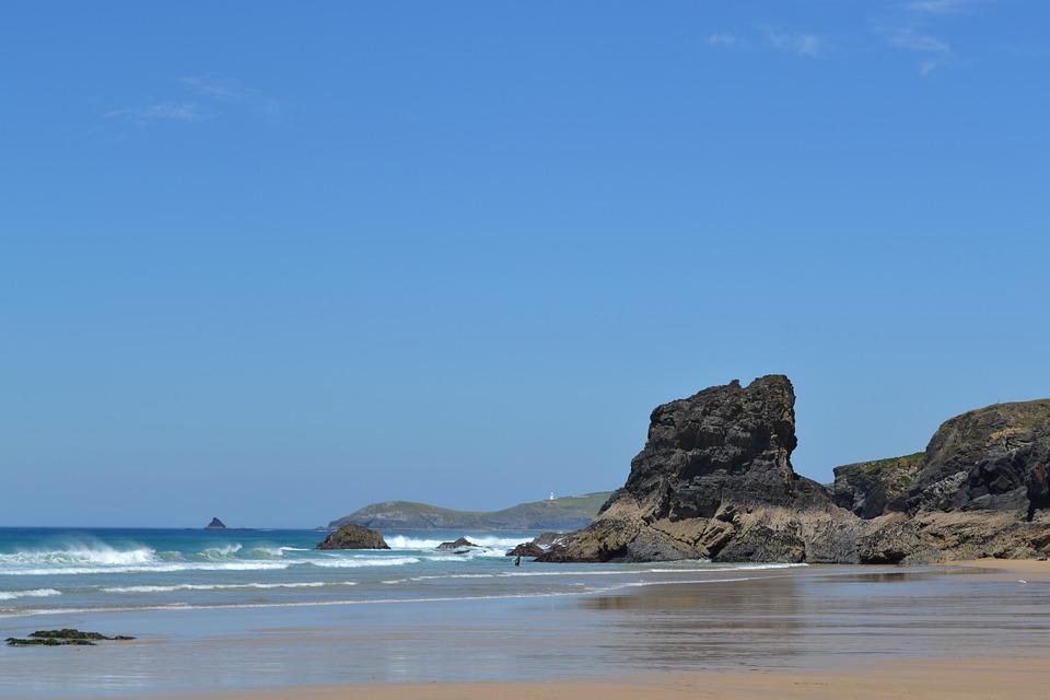 Beach, Uk, Cornwall Rocks Ocean Seas