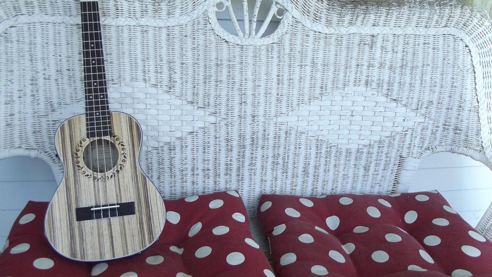 Wicker, Ukulele, Uke, Patio Furniture, Summer, Music