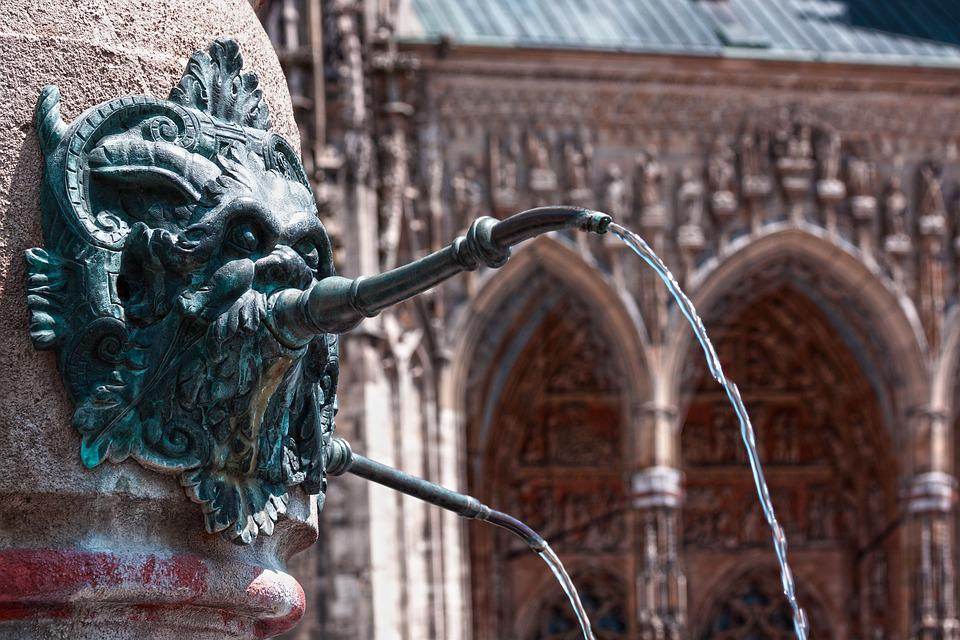 Ulm, Lion Fountain, Fountain, Detail, Cathedral Square
