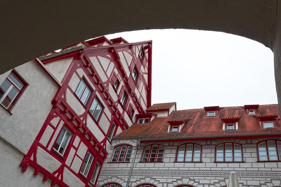 Facade, Courtyard, Middle Ages, Gothic, Frescos, Ulm