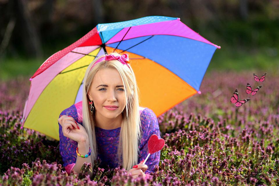 Girl, Umbrella, Candy Bar, Coloring, Mov, Blonde