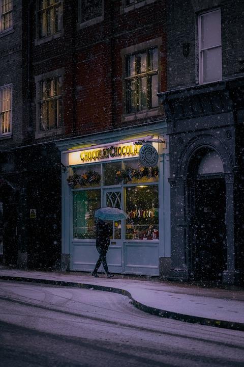 Winter, Cold, Snow, City, Umbrella, Chocolate
