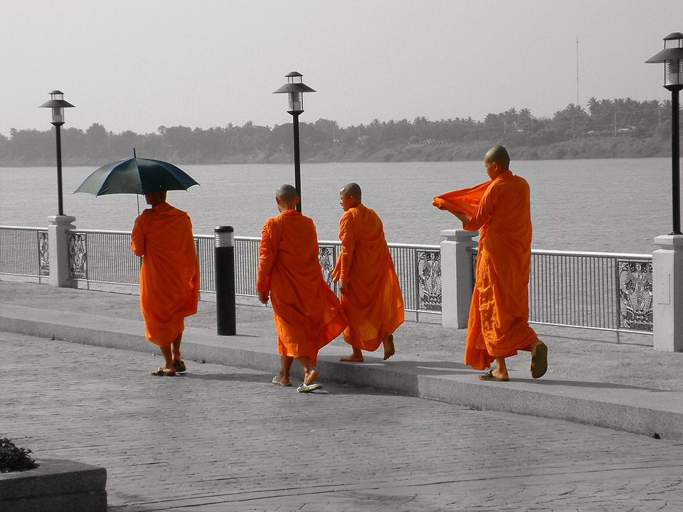 Thailand, Monk, Buddhism, Promenade, Umbrella, Orange