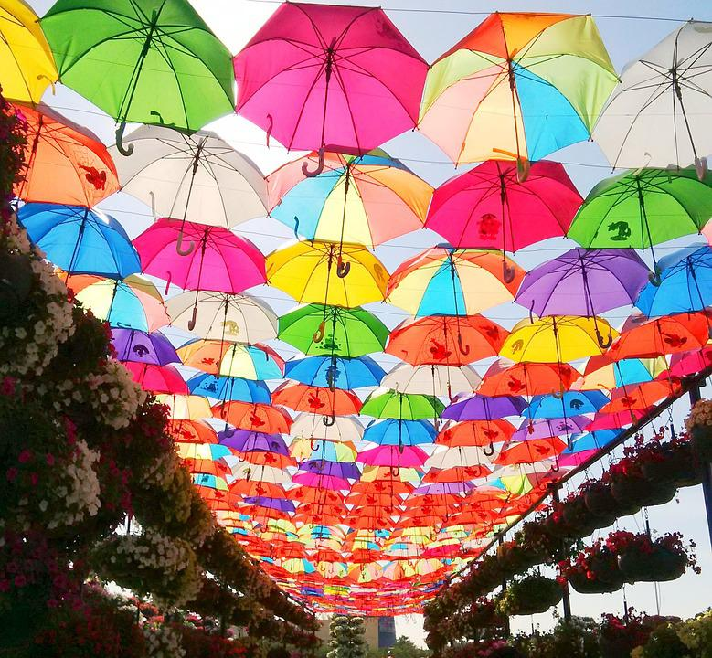 Umbrella, Park, Colorful, Outdoor, Dubai, Uae