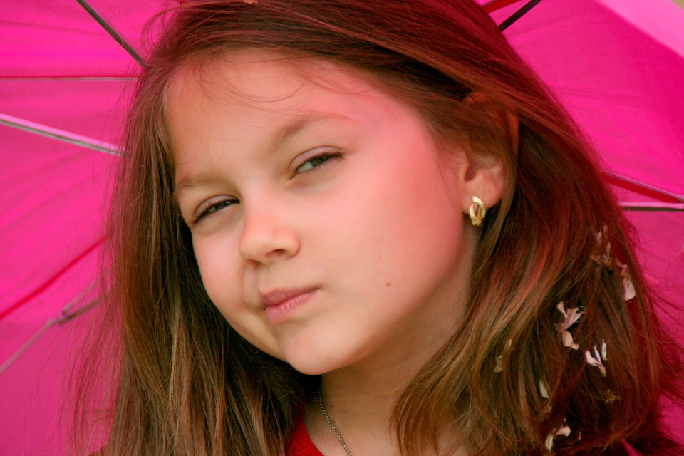 Girl, Portrait, Umbrella, Pink