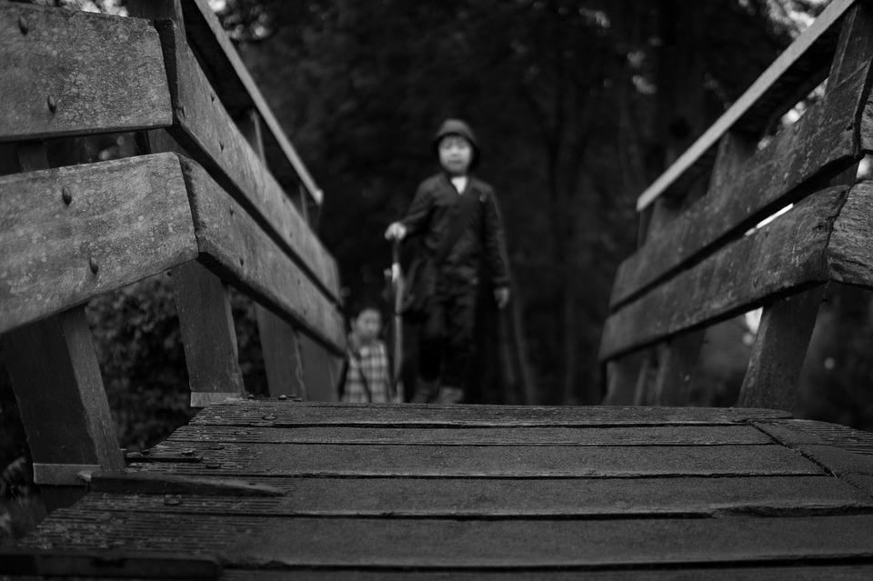 Bridge, Boy, Child, Umbrella, Walking, Tourist