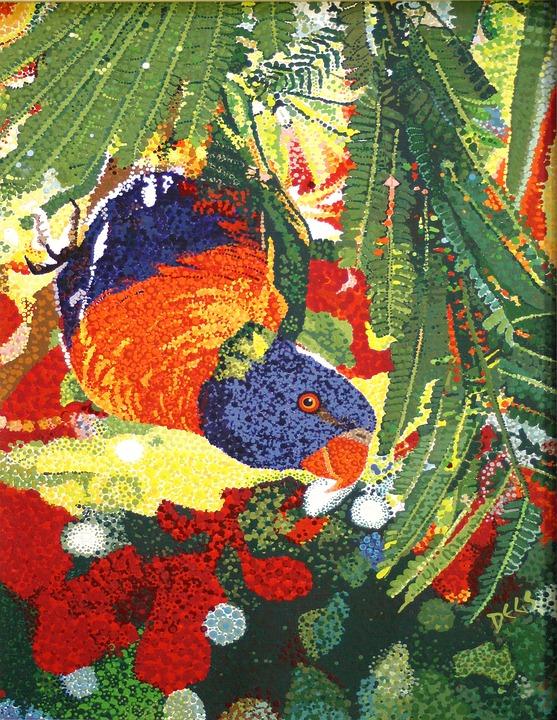 Rainbow Lorikeet, Umbrella Tree, Australian, Bird