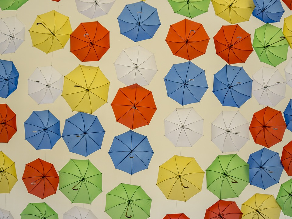 Umbrellas, Colors, Umbrella, Blue, Yellow, Orange