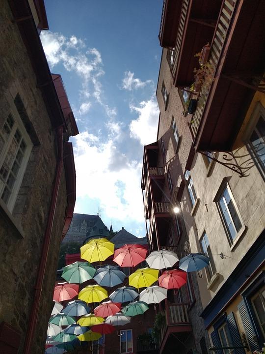 Umbrellas, Houses, Buildings, Street, Urban, Town