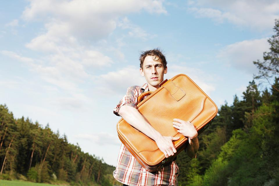 Man, Luggage, Forward, Young, Uncertain, Uncertainty