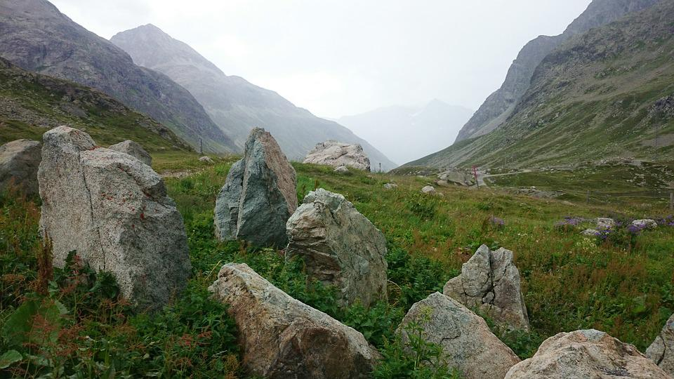 Rocks, Huge, Mountains, Under The Subsidiary, The Alps