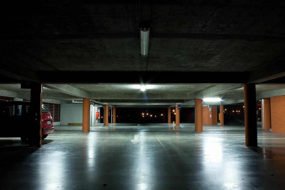 Garage, Night, Light, City, Parking, Underground