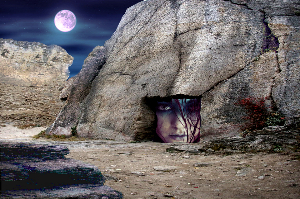 Fantasy, Cave, Moonlight, Underground, Stone, Rock