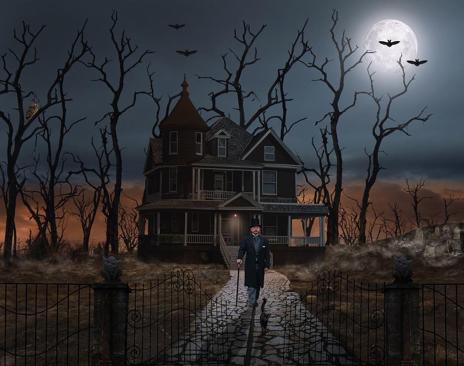 Undertaker, House, Full Moon, Cemetery, Haunted House