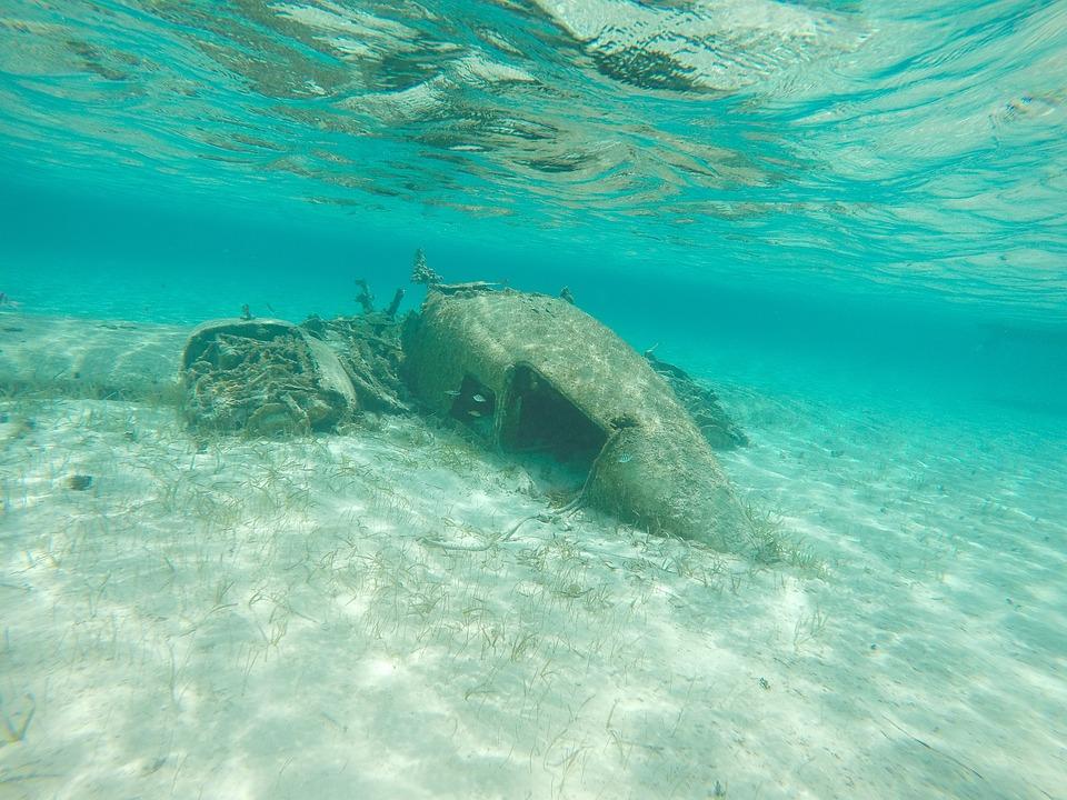 Wreckage, Underwater, Marine, Blue, Scuba, Diving
